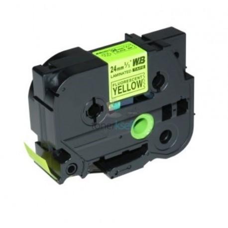 Brother TZe-C51 / TZeC51 - páska 24mm x 8m čierny tlač / signálny žltý podklad, laminovaná kompatibilný