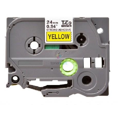 Brother TZe-S651 / TZeS651 - páska 24mm x 8m čierny tlač / žltý podklad, laminovaná extrémne adhezívny kompatibilný