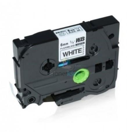 Brother TZe-FX211 / TZeFX211 - páska 6mm x 8m čierny tlač / biely podklad, laminovaná flexibilná kompatibilný