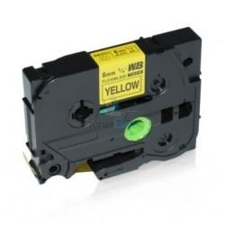 Brother TZe-FX611 / TZeFX611 - páska 6mm x 8m čierny tlač / žltý podklad, laminovaná flexibilná kompatibilný