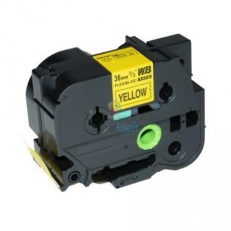 Brother TZe-FX661 / TZeFX661 - páska 36mm x 8m čierny tlač / žltý podklad, laminovaná flexibilná kompatibilný