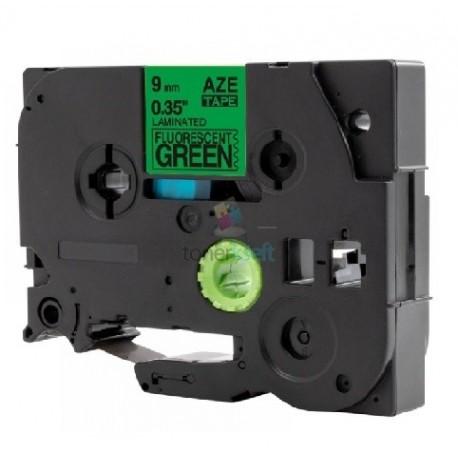 Brother TZe-D21 / TZeD21 - páska 9mm x 8m čierny tlač / signálny zelený podklad, laminovaná kompatibilný