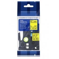Brother HSe-611 / HSe611 - páska 6mm x 1,5m čierny tlač / žltý podklad, zmršťovacia bužírka kompatibilný