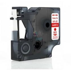 Dymo 40912 D1 - páska 9mm x 7m červený tlač / priehľadný podklad kompatibilný
