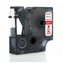 Dymo 40915 D1 (S0720700) - páska 9mm x 7m červený tlač / biely podklad kompatibilný