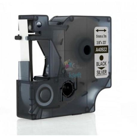 Dymo 40922 D1 - páska 9mm x 7m čierny tlač / strieborný podklad kompatibilný