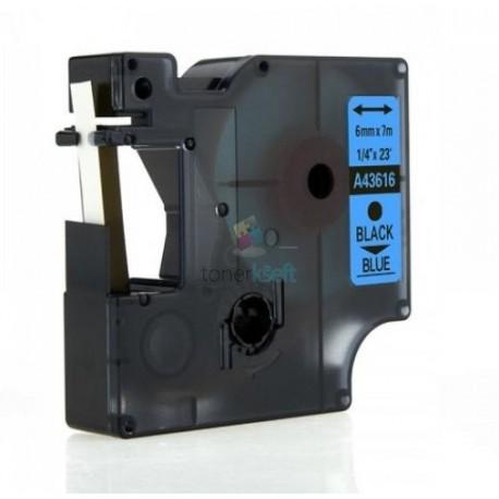 Dymo 43616 D1 - páska 6mm x 7m čierny tlač / modrý podklad kompatibilný