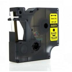 Dymo 43618 (S0720790) D1 - páska 6mm x 7m čierny tlač / žltý podklad kompatibilný
