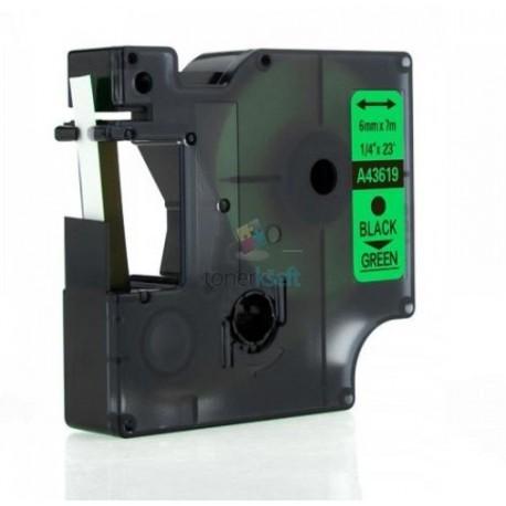 Dymo 43619 D1 - páska 6mm x 7m čierny tlač / zelený podklad kompatibilný