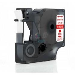 Dymo 45012 D1 (S0720520) - páska 12mm x 7m červený tlač / priehľadný podklad kompatibilný