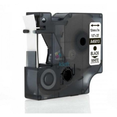 Dymo 45013 D1 (S0720530) - páska 12mm x 7m čierny tlač / biely podklad kompatibilný