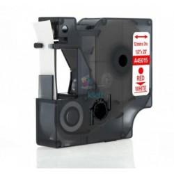 Dymo 45015 D1 (S0720550) - páska 12mm x 7m červený tlač / biely podklad kompatibilný