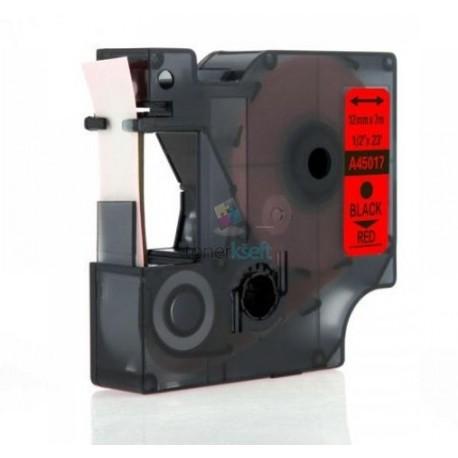 Dymo 45017 D1 (S0720570) - páska 12mm x 7m čierny tlač / červený podklad kompatibilný