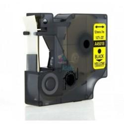 Dymo 45018 D1 (S0720580) - páska 12mm x 7m čierny tlač / žltý podklad kompatibilný