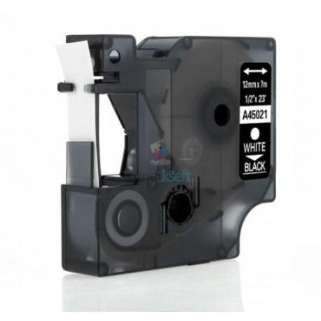 Dymo 45021 D1 (S0720610) - páska 12mm x 7m biely tlač / čierny podklad kompatibilný