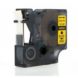 Dymo 45023 D1 (S0720630) - páska 12mm x 7m čierny tlač / zlatý podklad kompatibilný