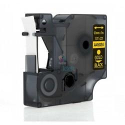 Dymo 45024 D1 - páska 12mm x 7m zlatý tlač / čierny podklad kompatibilný