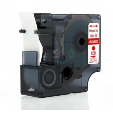 Dymo 45802 D1- páska 19mm x 7m červený tlač / priehľadný podklad kompatibilný