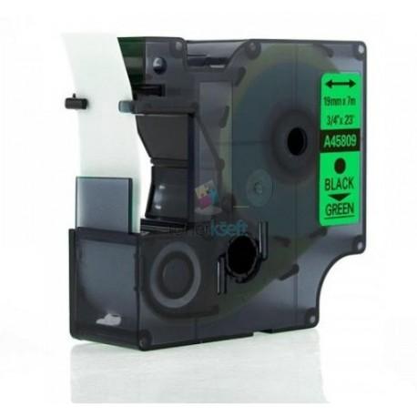 Dymo 45809 D1 (S0720890) - páska 19mm x 7m čierny tlač / zelený podklad kompatibilný
