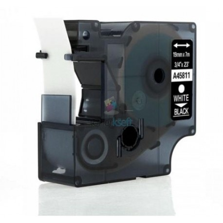 Dymo 45811 D1 (S0720910) - páska 19mm x 7m biely tlač / čierny podklad kompatibilný