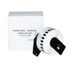 Brother DK-22210 (DK22210) - Kompatibilný papierové etikety samolepiace role - 29mm x 30,48, Biele