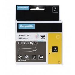 Dymo 18051 Rhino (S0718260) - páska 6mm x 1,5m čierny tlač / biely podklad, zmršťovacia bužírka kompatibilný