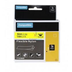Dymo 18052 Rhino (S0718270) - páska 6mm x 1,5m čierny tlač / žltý podklad, zmršťovacia bužírka kompatibilný