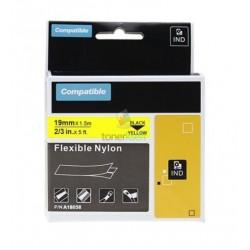Dymo 18058 Rhino (S0718340) - páska 19mm x 1,5m čierny tlač / žltý podklad, zmršťovacia bužírka kompatibilný