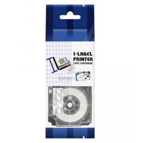 Casio XR-6AX - páska 6mm x 8m biely tlač / priehľadný podklad kompatibilný
