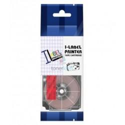 Casio XR-6RD1 / Casio XR-6RD - páska 6mm x 8m čierny tlač / červený podklad kompatibilný