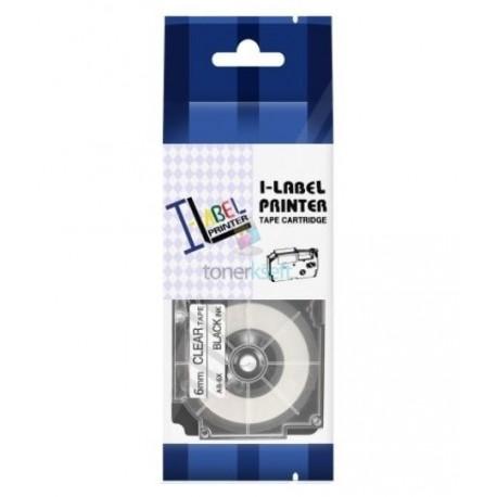 Casio XR-6x1 / Casio XR-6X - páska 6mm x 8m čierny tlač / priehľadný podklad kompatibilný