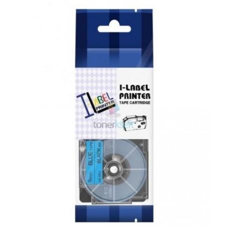 Casio XR-9BU1 / Casio XR-9BU - páska 9mm x 8m čierny tlač / modrý podklad kompatibilný