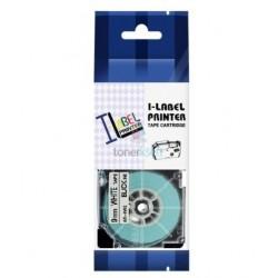 Casio XR-9WE1 / Casio XR-9WE - páska 9mm x 8m čierny tlač / biely podklad kompatibilný