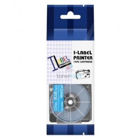 Casio XR-12ABU - páska 12mm x 8m biely tlač / modrý podklad kompatibilný