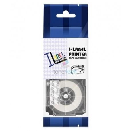 Casio XR-12AX - páska 12mm x 8m biely tlač / priehľadný podklad kompatibilný