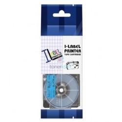Casio XR-12BU1 / Casio XR-12BU - páska 12mm x 8m čierny tlač / modrý podklad kompatibilný