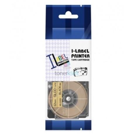 Casio XR-12GD1 / Casio XR-12GD - páska 12mm x 8m čierny tlač / zlatý podklad kompatibilný