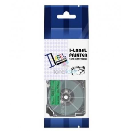 Casio XR-12GN1 / Casio XR-12GN - páska 12mm x 8m čierny tlač / zelený podklad kompatibilný