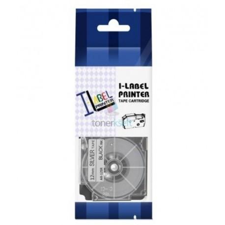 Casio XR-12SR1 / Casio XR-12SR - páska 12mm x 8m čierny tlač / strieborný podklad kompatibilný