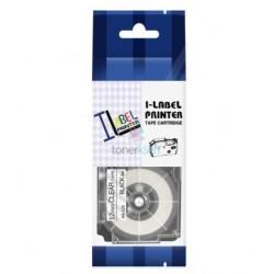 Casio XR-12x1 / Casio XR-12X - páska 12mm x 8m čierny tlač / priehľadný podklad kompatibilný