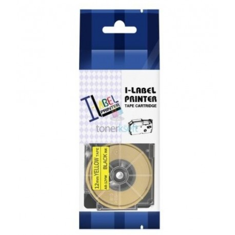 Casio XR-12YW1 / Casio XR-12YW - páska 12mm x 8m čierny tlač / žltý podklad kompatibilný