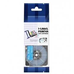 Casio XR-18ABU - páska 18mm x 8m biely tlač / modrý podklad kompatibilný