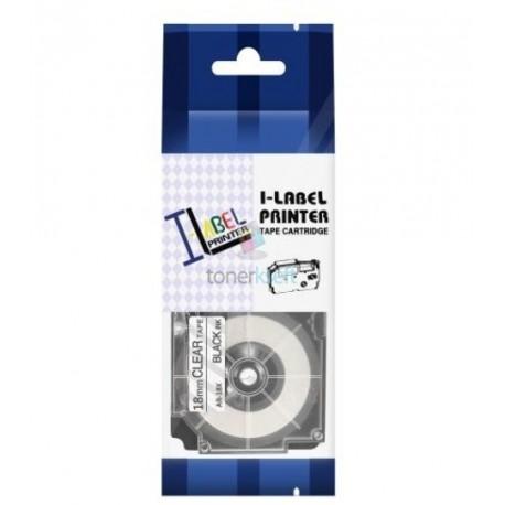 Casio XR-18x1 - páska 18mm x 8m čierny tlač / priehľadný podklad kompatibilný