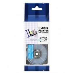 Casio XR-24ABU - páska 24mm x 8m biely tlač / modrý podklad kompatibilný