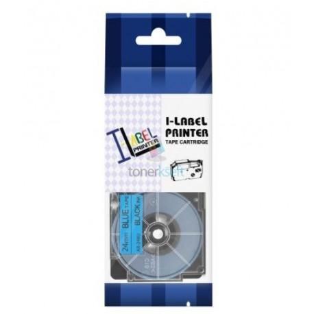 Casio XR-24BU1 - páska 24mm x 8m čierny tlač / modrý podklad kompatibilný