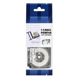 Casio XR-24x1 - páska 24mm x 8m čierny tlač / priehľadný podklad kompatibilný
