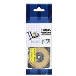 Casio XR-24YW1 - páska 24mm x 8m čierny tlač / žltý podklad kompatibilný
