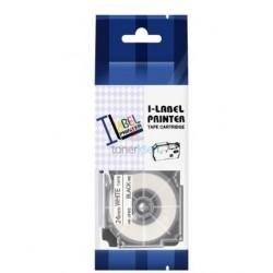 Casio XR-24WE1 - páska 24mm x 8m čierny tlač / biely podklad kompatibilný
